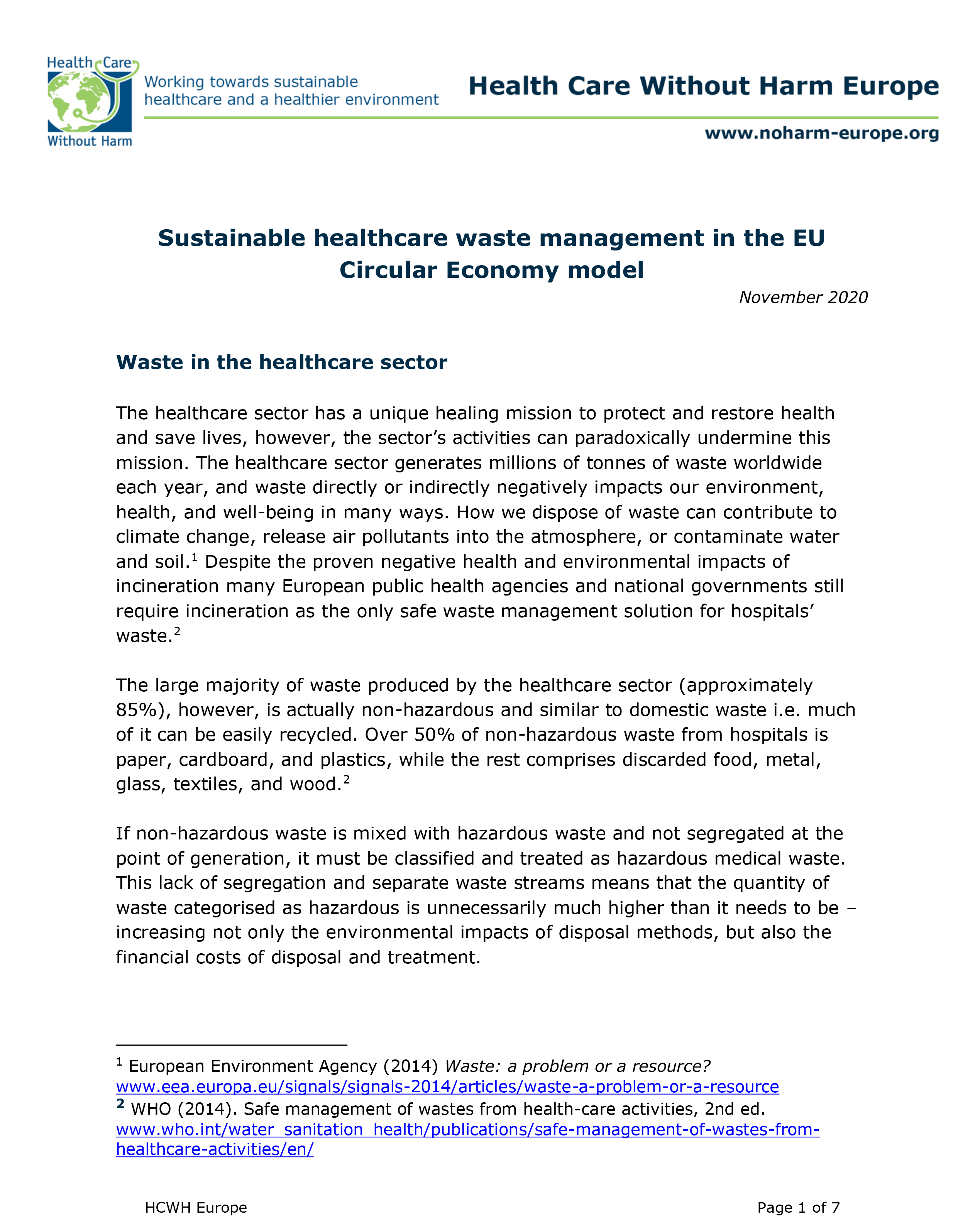 Sustainable healthcare waste management