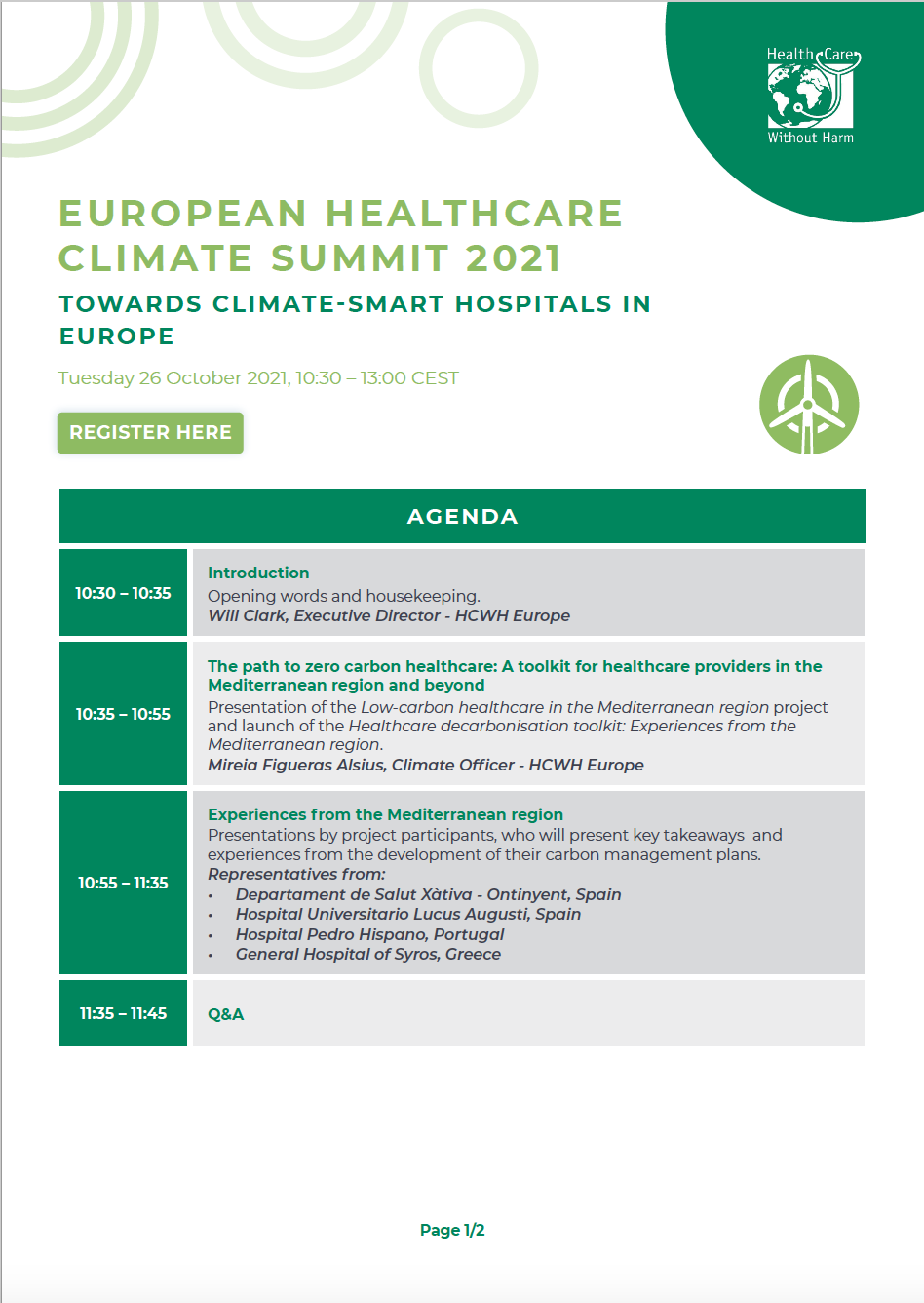 Screenshot of first page of EHCS2021 agenda