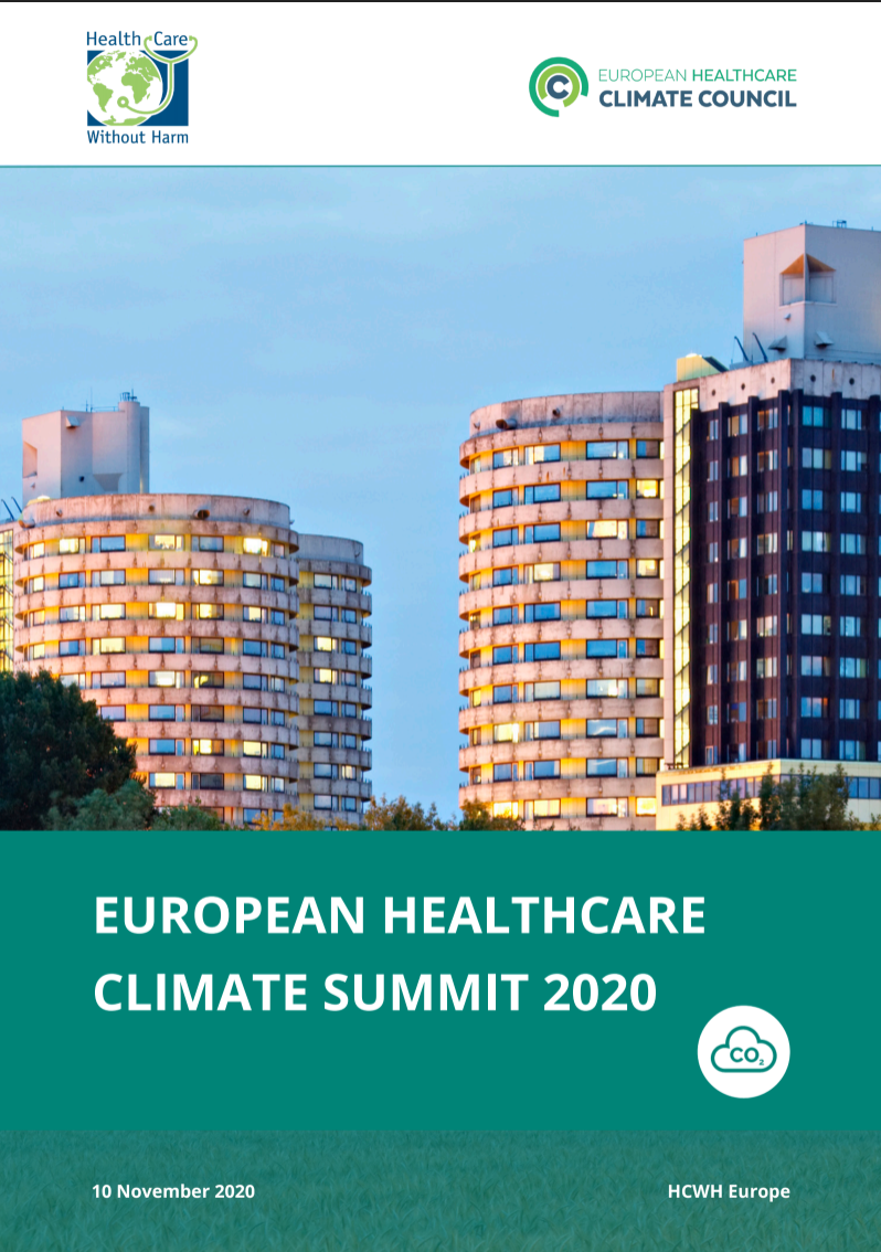 European Healthcare Climate Summit 2020 report cover