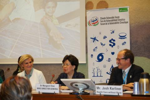 From Left to Right: Dr. Maria Neira, Directorof the Public Health and the Environment Department; Dr. Margaret Chan, General Director of the World Health Organization, and Josh Karliner, Director of Global Projects and International Team Coordinator for Health Care Without Harm